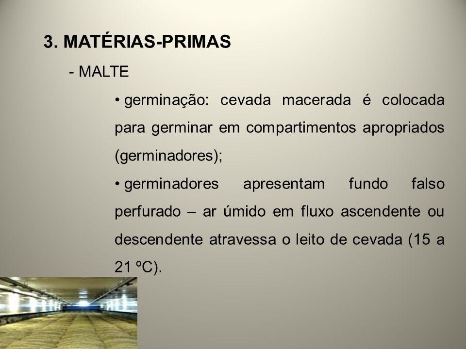 3. MATÉRIAS-PRIMAS - MALTE germinação: cevada macerada é colocada para germinar em compartimentos apropriados (germinadores); germinadores apresentam