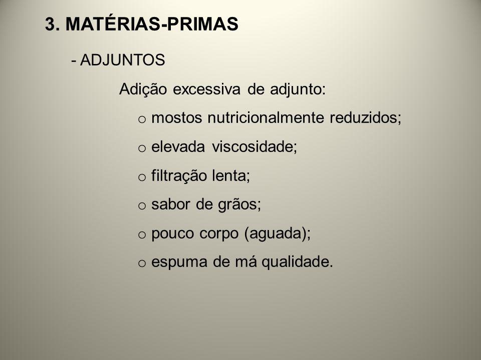 3. MATÉRIAS-PRIMAS - ADJUNTOS Adição excessiva de adjunto: o mostos nutricionalmente reduzidos; o elevada viscosidade; o filtração lenta; o sabor de g