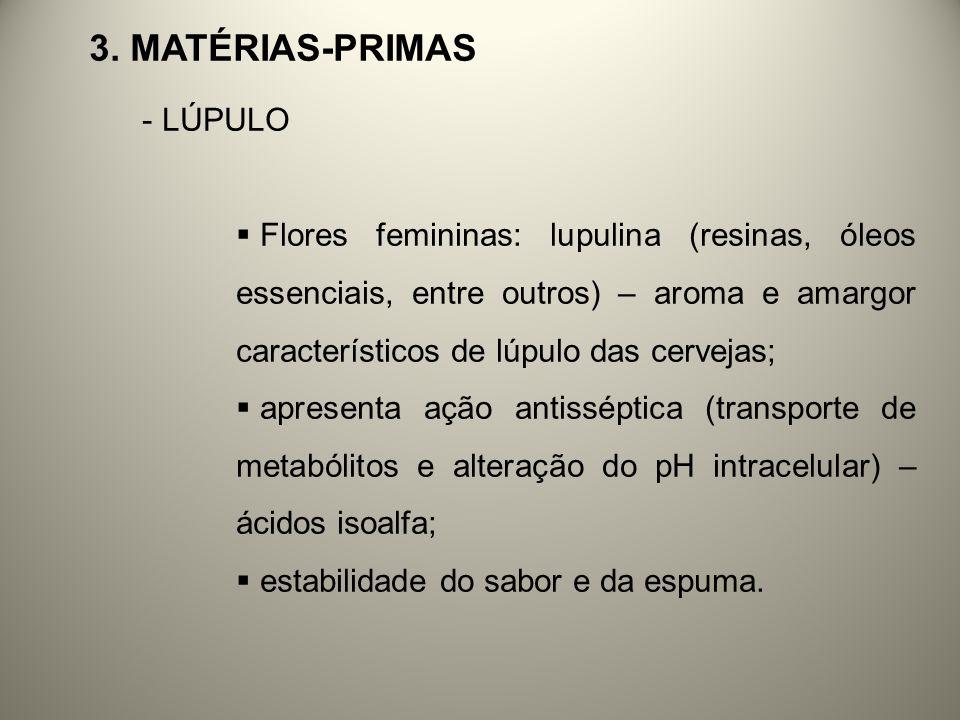 3. MATÉRIAS-PRIMAS - LÚPULO Flores femininas: lupulina (resinas, óleos essenciais, entre outros) – aroma e amargor característicos de lúpulo das cerve