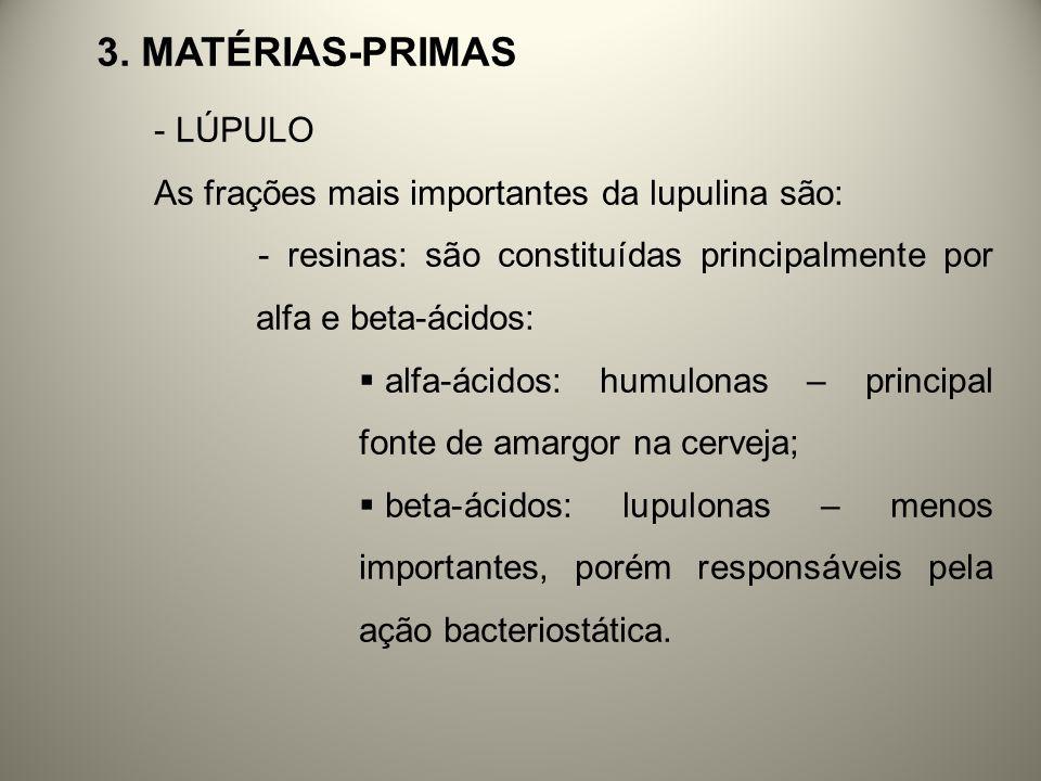3. MATÉRIAS-PRIMAS - LÚPULO As frações mais importantes da lupulina são: - resinas: são constituídas principalmente por alfa e beta-ácidos: alfa-ácido