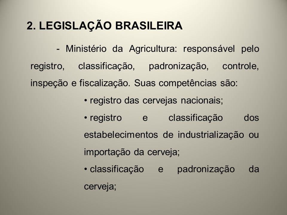 2. LEGISLAÇÃO BRASILEIRA - Ministério da Agricultura: responsável pelo registro, classificação, padronização, controle, inspeção e fiscalização. Suas