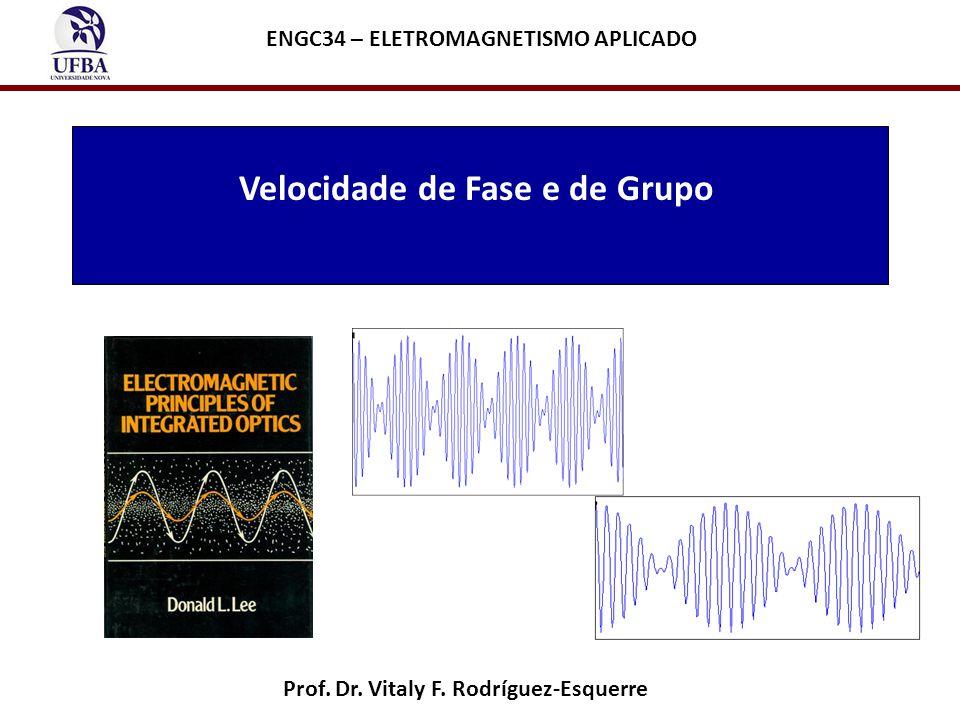 http://newton.ex.ac.uk/teaching/au/phy1106/animationpages/wavepacket_ anomalous_dispersion.html O ponto vermelho se desloca com velocidade de fase (acompanha a fase) O ponto preto se desloca com velocidade de grupo (acompanha a envoltoria) Velocidade de fase < velocidade de grupo
