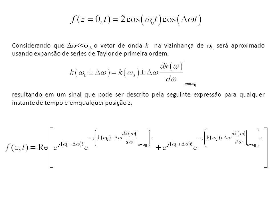 Considerando que, o vetor de onda k na vizinhança de, será aproximado usando expansão de series de Taylor de primeira ordem, resultando em um sinal qu