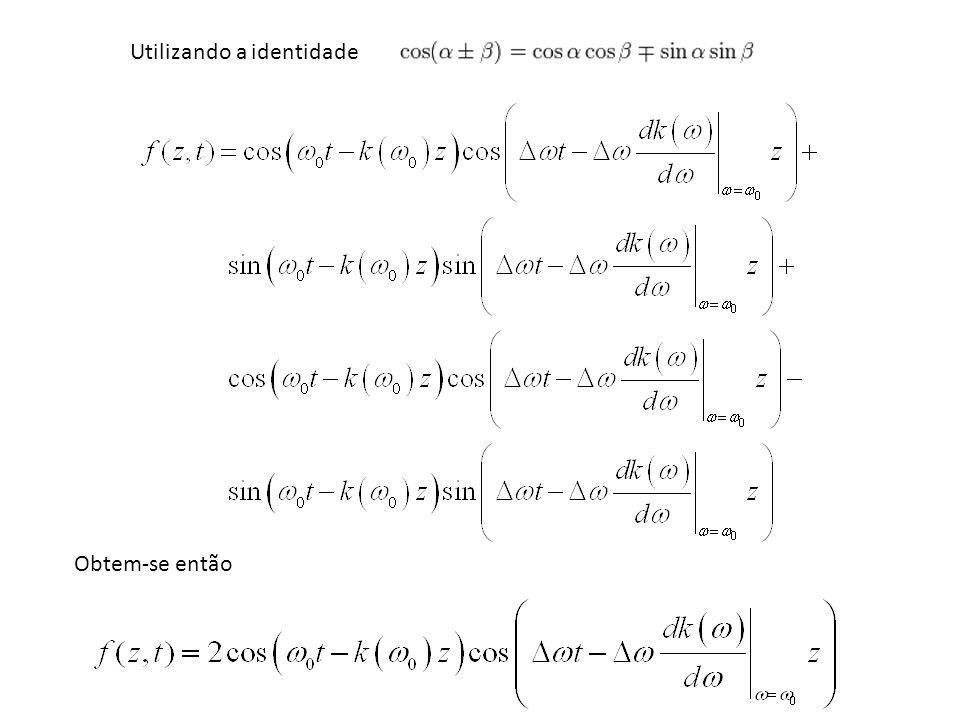 Analisando a expressão final, percebe-se que cada coseno, que corresponde à portadora e à informação, sofre um atraso denominado de atraso de fase e de grupo, respectivamente, Onde, Desta forma, definimos as velocidades de fase e de grupo da seguinte maneira,