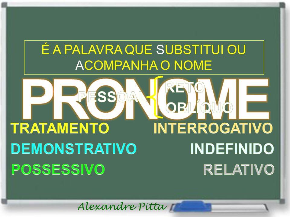 Alexandre Pitta É A PALAVRA QUE SUBSTITUI OU ACOMPANHA O NOME