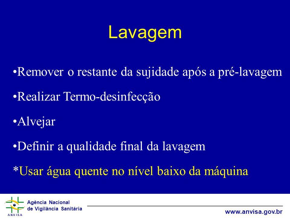 Agência Nacional de Vigilância Sanitária www.anvisa.gov.br Lavagem Remover o restante da sujidade após a pré-lavagem Realizar Termo-desinfecção Alveja