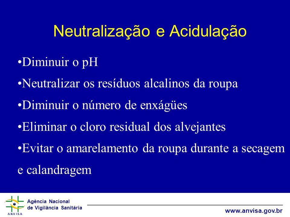 Agência Nacional de Vigilância Sanitária www.anvisa.gov.br Neutralização e Acidulação Diminuir o pH Neutralizar os resíduos alcalinos da roupa Diminui