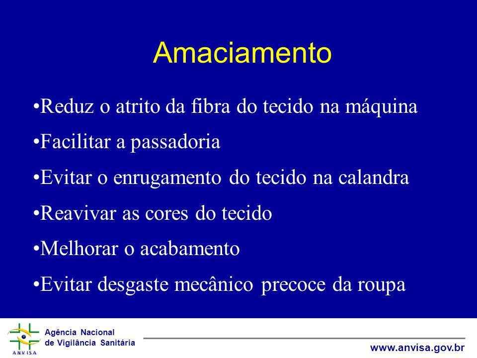 Agência Nacional de Vigilância Sanitária www.anvisa.gov.br Amaciamento Reduz o atrito da fibra do tecido na máquina Facilitar a passadoria Evitar o en