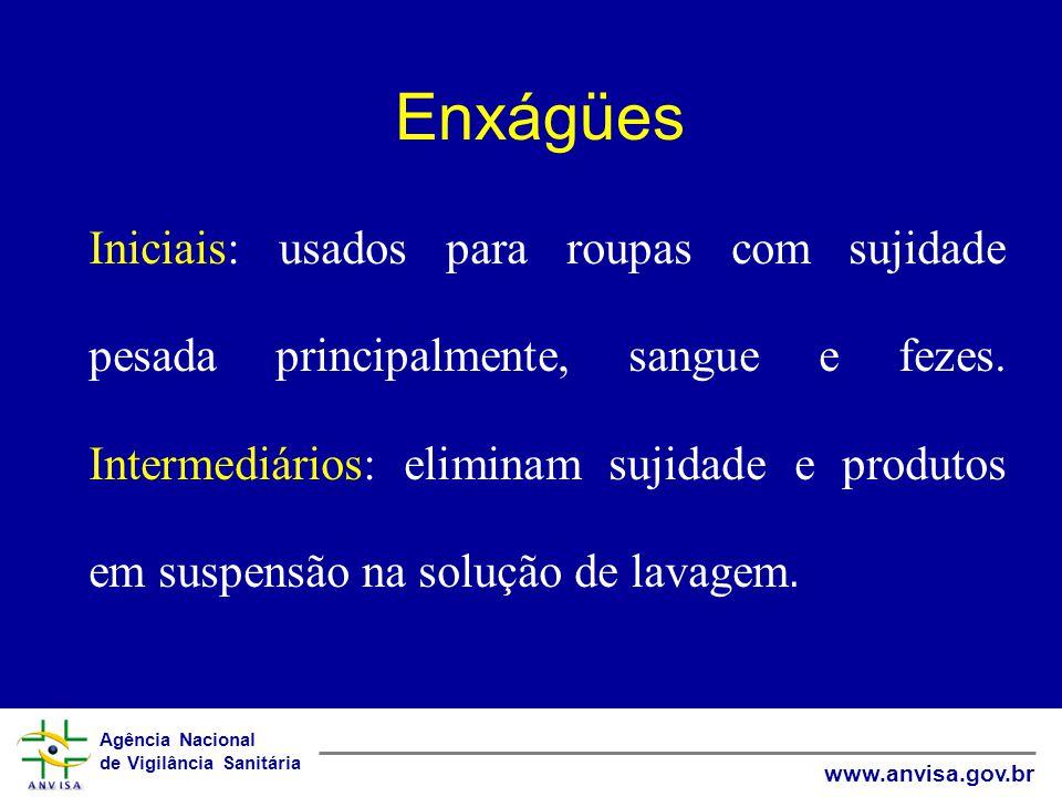 Agência Nacional de Vigilância Sanitária www.anvisa.gov.br Enxágües Iniciais: usados para roupas com sujidade pesada principalmente, sangue e fezes.