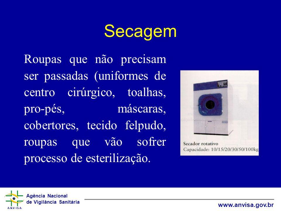 Agência Nacional de Vigilância Sanitária www.anvisa.gov.br Secagem Roupas que não precisam ser passadas (uniformes de centro cirúrgico, toalhas, pro-p
