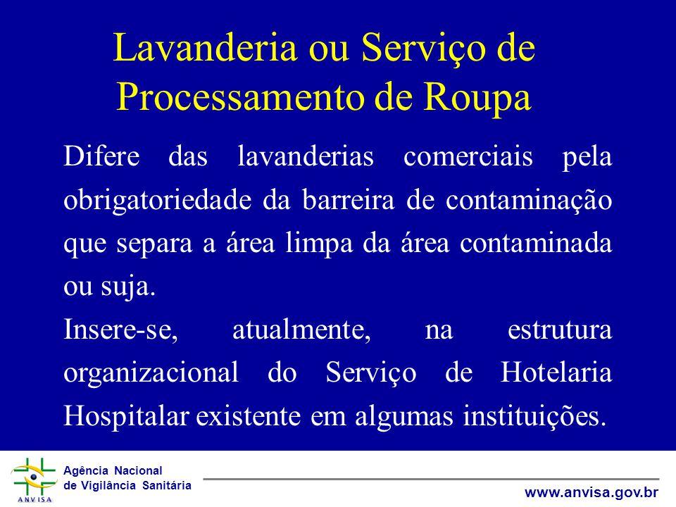 Agência Nacional de Vigilância Sanitária www.anvisa.gov.br Lavanderia ou Serviço de Processamento de Roupa Difere das lavanderias comerciais pela obrigatoriedade da barreira de contaminação que separa a área limpa da área contaminada ou suja.
