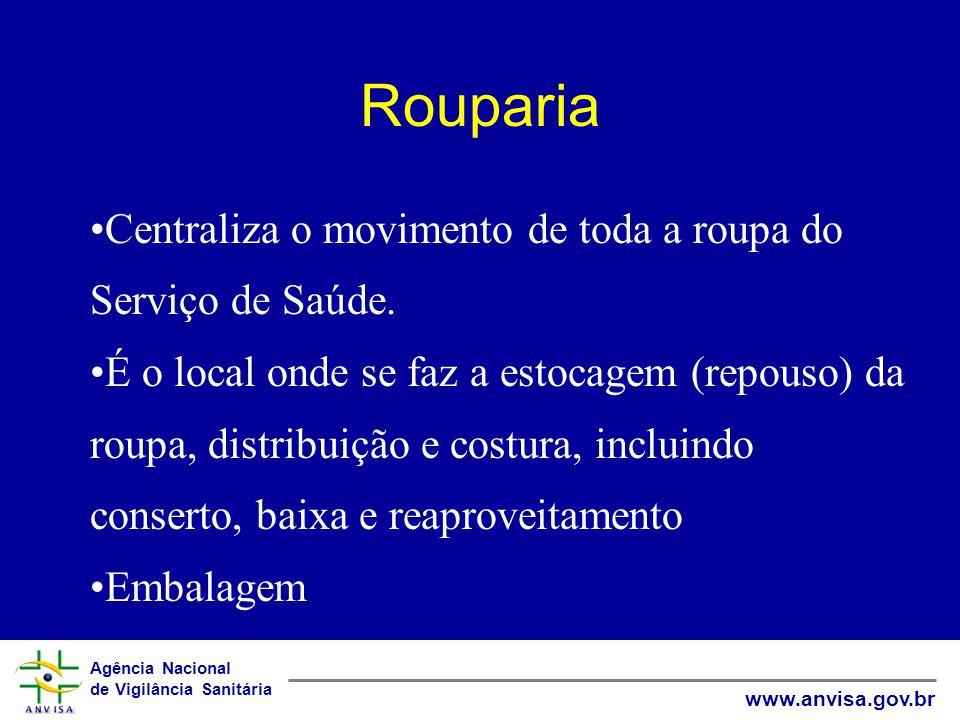 Agência Nacional de Vigilância Sanitária www.anvisa.gov.br Rouparia Centraliza o movimento de toda a roupa do Serviço de Saúde. É o local onde se faz