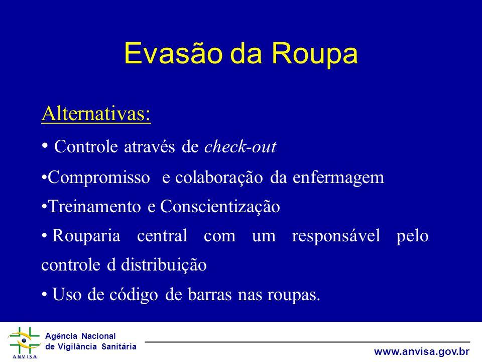 Agência Nacional de Vigilância Sanitária www.anvisa.gov.br Evasão da Roupa Alternativas: Controle através de check-out Compromisso e colaboração da en