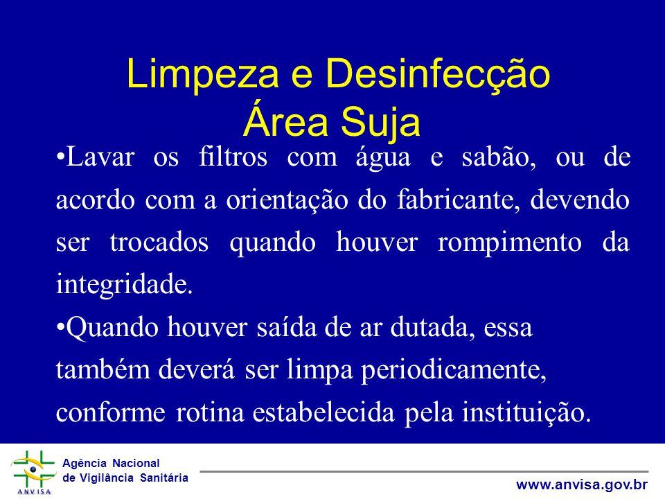 Agência Nacional de Vigilância Sanitária www.anvisa.gov.br Limpeza e Desinfecção Área Suja Lavar os filtros com água e sabão, ou de acordo com a orien