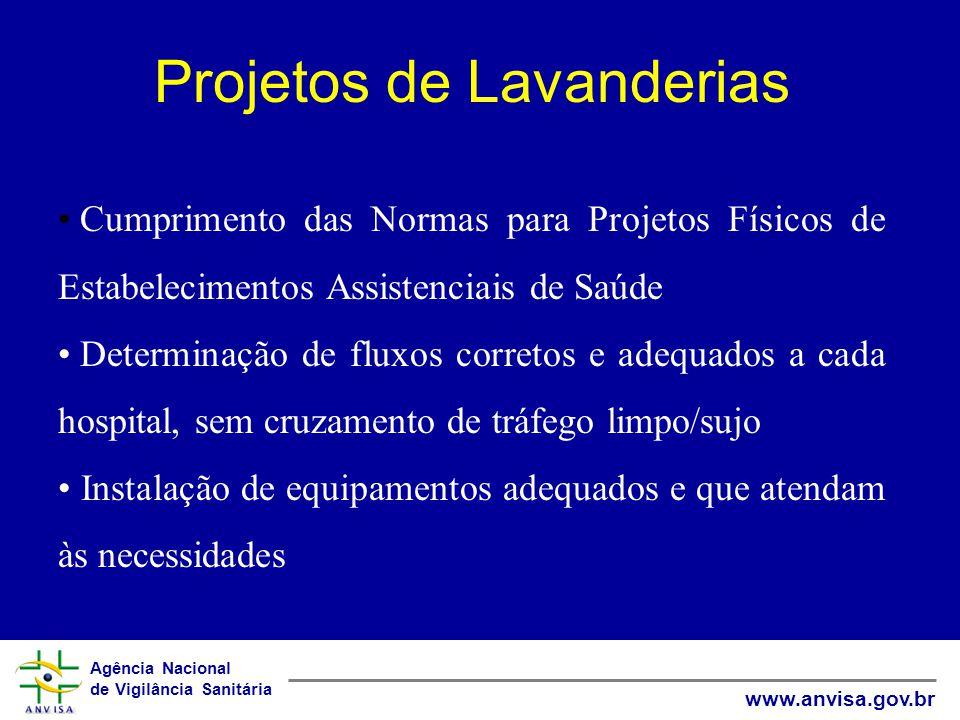 Agência Nacional de Vigilância Sanitária www.anvisa.gov.br Projetos de Lavanderias Cumprimento das Normas para Projetos Físicos de Estabelecimentos As