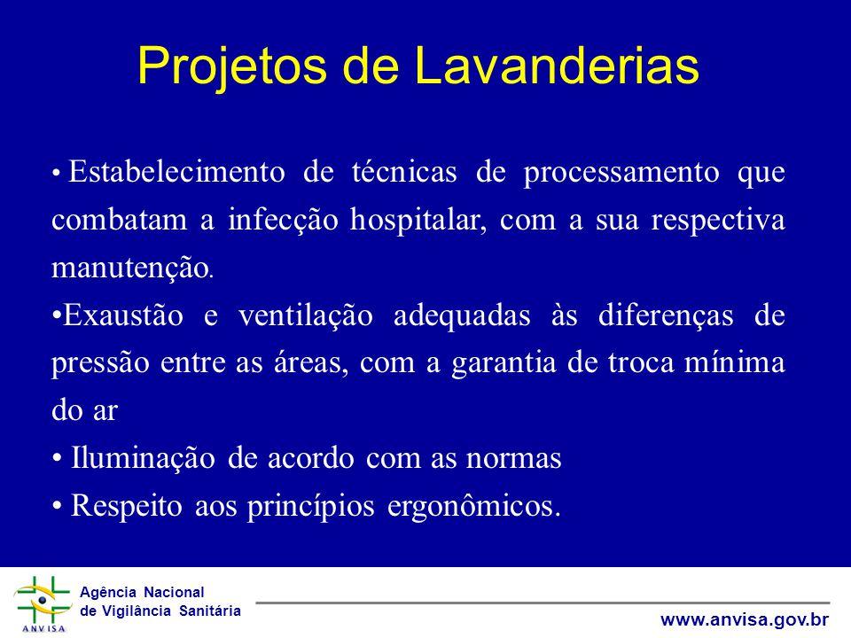 Agência Nacional de Vigilância Sanitária www.anvisa.gov.br Projetos de Lavanderias Estabelecimento de técnicas de processamento que combatam a infecção hospitalar, com a sua respectiva manutenção.