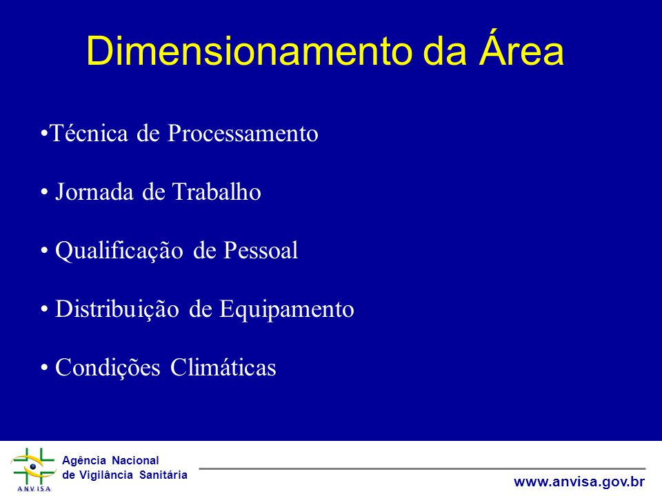 Agência Nacional de Vigilância Sanitária www.anvisa.gov.br Dimensionamento da Área Técnica de Processamento Jornada de Trabalho Qualificação de Pessoal Distribuição de Equipamento Condições Climáticas