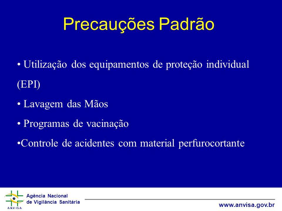 Agência Nacional de Vigilância Sanitária www.anvisa.gov.br Precauções Padrão Utilização dos equipamentos de proteção individual (EPI) Lavagem das Mãos