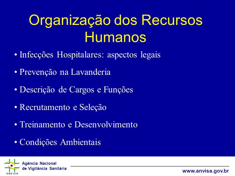 Agência Nacional de Vigilância Sanitária www.anvisa.gov.br Organização dos Recursos Humanos Infecções Hospitalares: aspectos legais Prevenção na Lavan