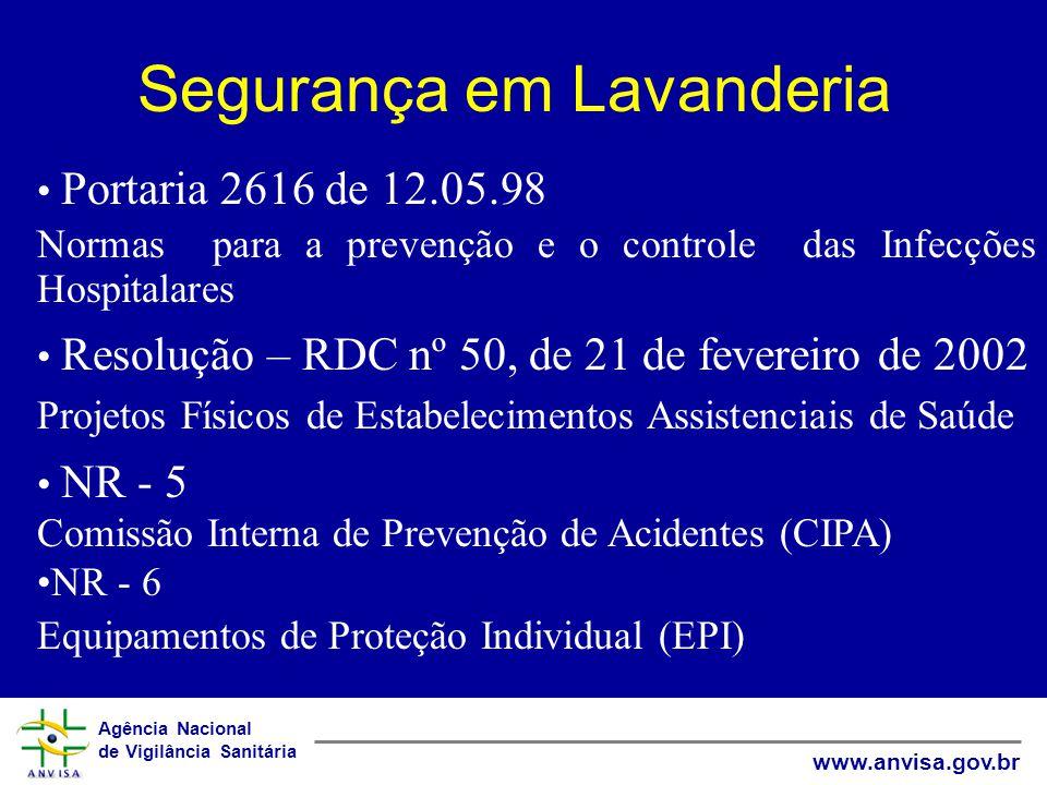 Agência Nacional de Vigilância Sanitária www.anvisa.gov.br Segurança em Lavanderia Portaria 2616 de 12.05.98 Normas para a prevenção e o controle das Infecções Hospitalares Resolução – RDC nº 50, de 21 de fevereiro de 2002 Projetos Físicos de Estabelecimentos Assistenciais de Saúde NR - 5 Comissão Interna de Prevenção de Acidentes (CIPA) NR - 6 Equipamentos de Proteção Individual (EPI)