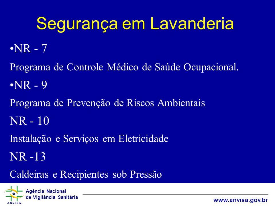Agência Nacional de Vigilância Sanitária www.anvisa.gov.br Segurança em Lavanderia NR - 7 Programa de Controle Médico de Saúde Ocupacional. NR - 9 Pro