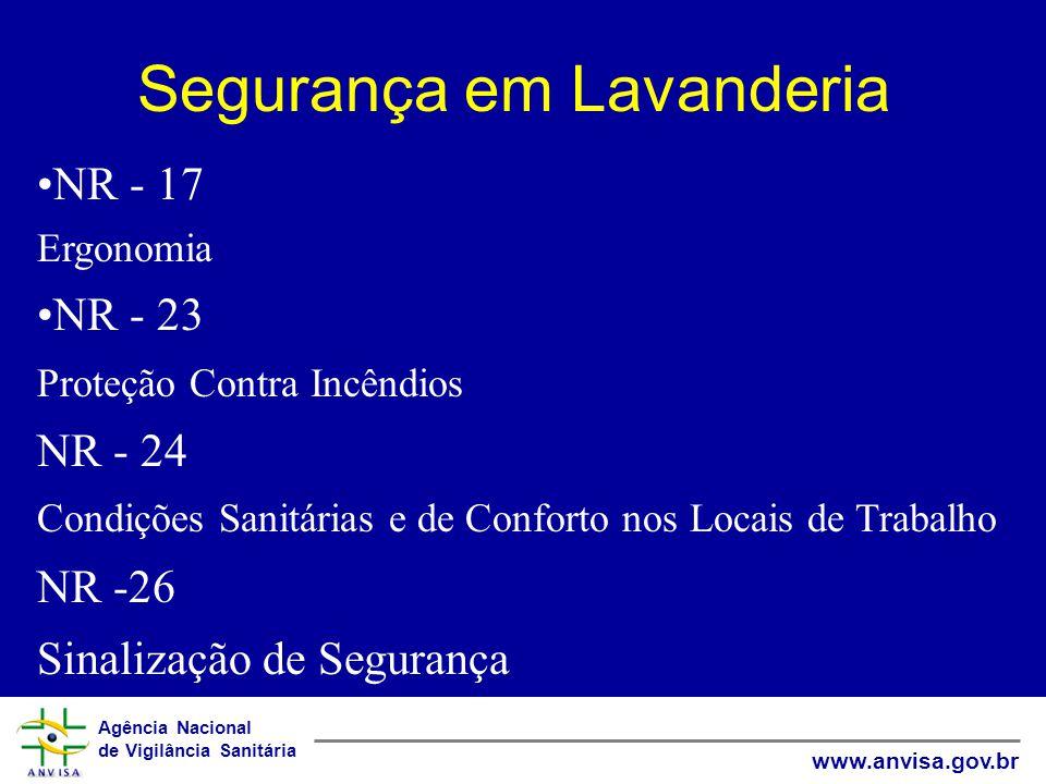 Agência Nacional de Vigilância Sanitária www.anvisa.gov.br Segurança em Lavanderia NR - 17 Ergonomia NR - 23 Proteção Contra Incêndios NR - 24 Condiçõ