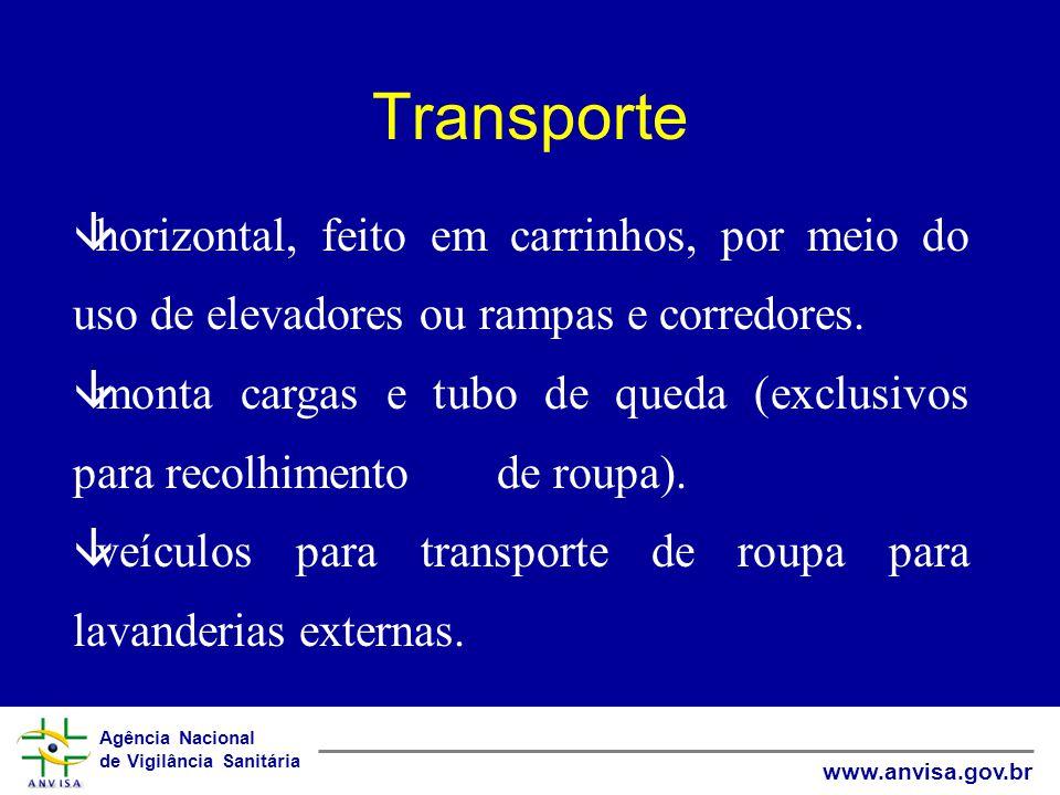 Agência Nacional de Vigilância Sanitária www.anvisa.gov.br Transporte âhorizontal, feito em carrinhos, por meio do uso de elevadores ou rampas e corredores.