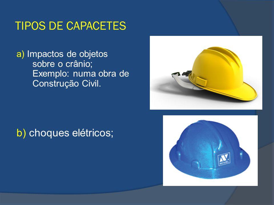 TIPOS DE CAPACETES a) Impactos de objetos sobre o crânio; Exemplo: numa obra de Construção Civil. b) choques elétricos;