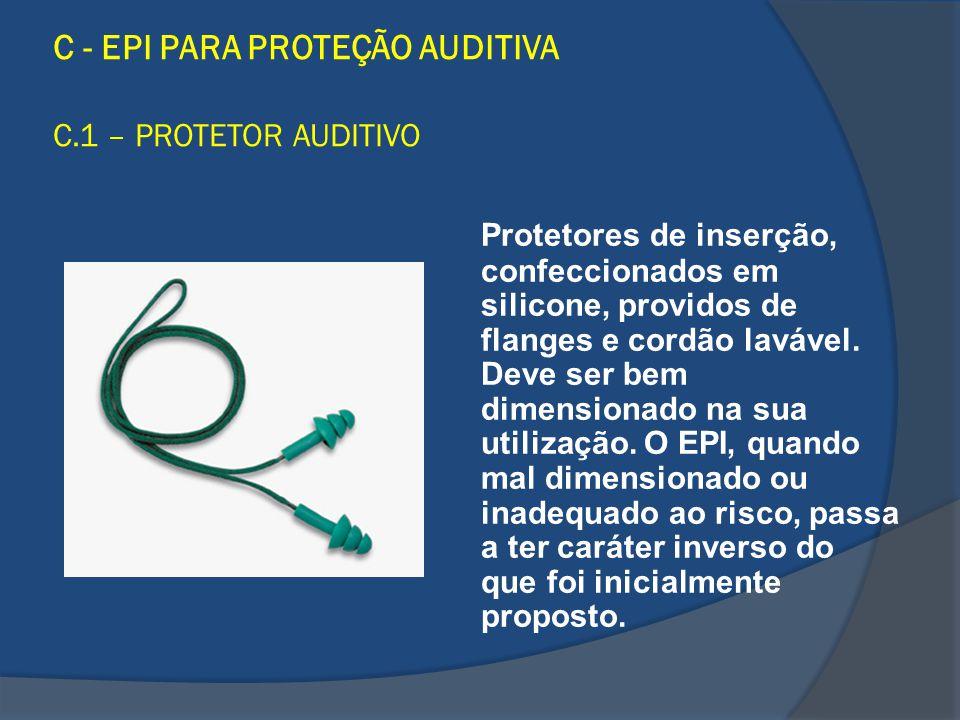 C - EPI PARA PROTEÇÃO AUDITIVA C.1 – PROTETOR AUDITIVO Protetores de inserção, confeccionados em silicone, providos de flanges e cordão lavável. Deve