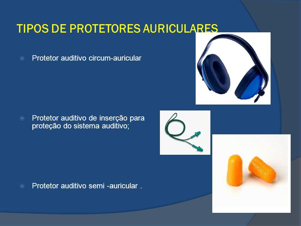 TIPOS DE PROTETORES AURICULARES Protetor auditivo circum-auricular Protetor auditivo de inserção para proteção do sistema auditivo; Protetor auditivo