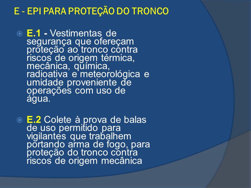 E - EPI PARA PROTEÇÃO DO TRONCO E.1 - Vestimentas de segurança que ofereçam proteção ao tronco contra riscos de origem térmica, mecânica, química, rad