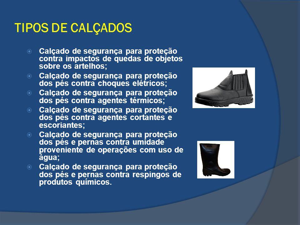 TIPOS DE CALÇADOS Calçado de segurança para proteção contra impactos de quedas de objetos sobre os artelhos; Calçado de segurança para proteção dos pé