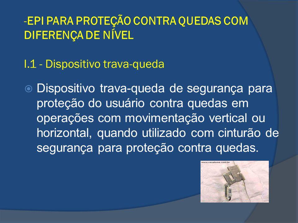 -EPI PARA PROTEÇÃO CONTRA QUEDAS COM DIFERENÇA DE NÍVEL I.1 - Dispositivo trava-queda Dispositivo trava-queda de segurança para proteção do usuário co