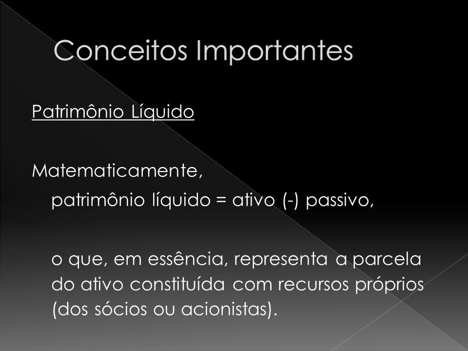 Patrimônio Líquido Matematicamente, patrimônio líquido = ativo (-) passivo, o que, em essência, representa a parcela do ativo constituída com recursos próprios (dos sócios ou acionistas).