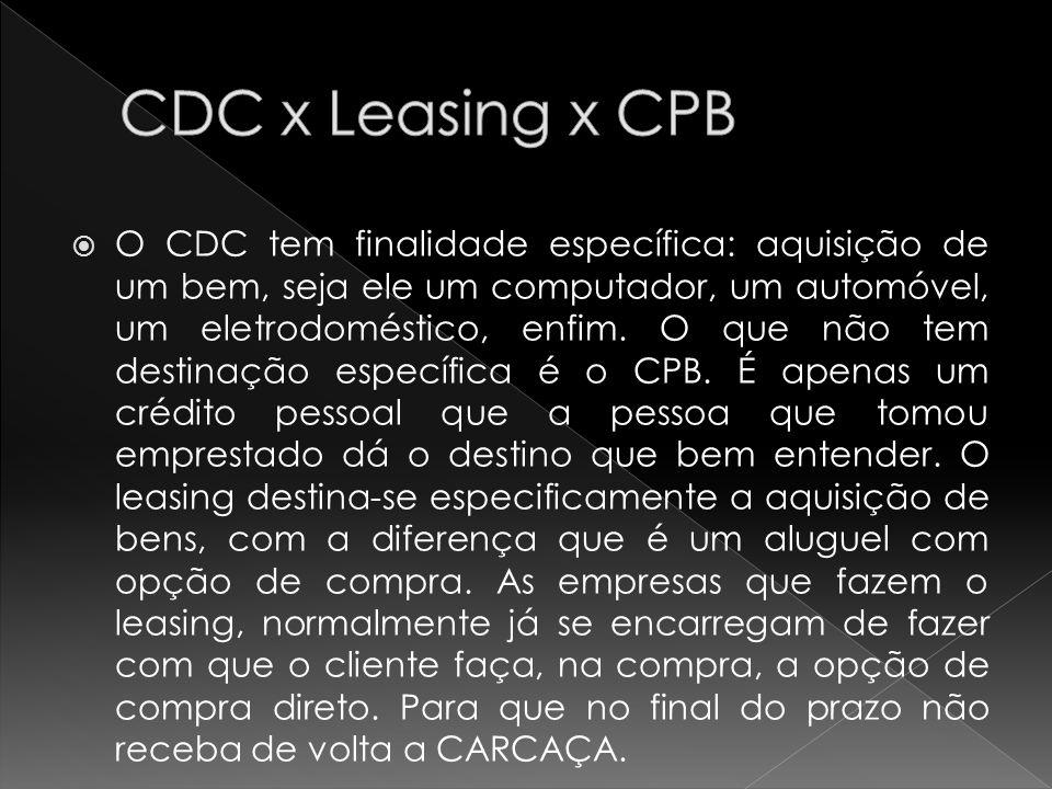 O CDC tem finalidade específica: aquisição de um bem, seja ele um computador, um automóvel, um eletrodoméstico, enfim.