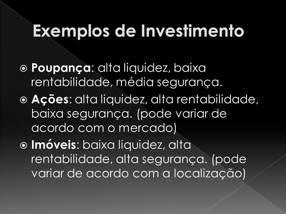 Poupança : alta liquidez, baixa rentabilidade, média segurança.