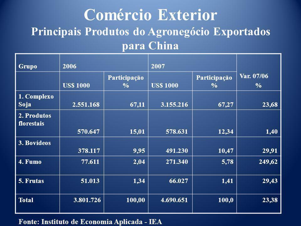 Comércio Exterior Principais Produtos do Agronegócio Exportados para China Grupo20062007 Var. 07/06 % US$ 1000 Participação %US$ 1000 Participação % 1