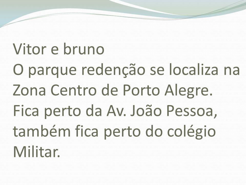 Vitor e bruno O parque redenção se localiza na Zona Centro de Porto Alegre.
