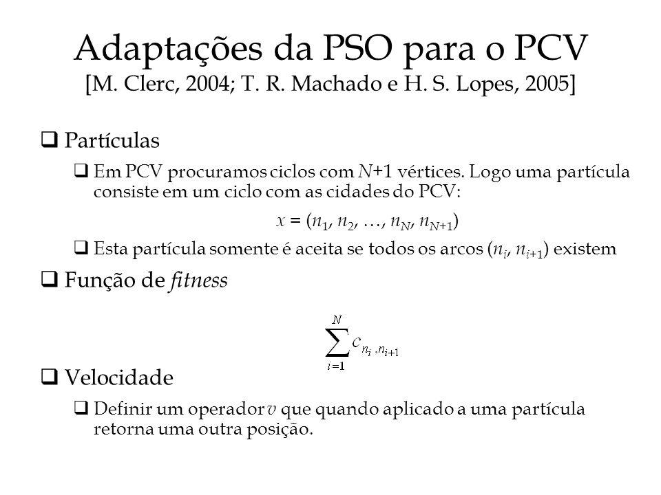 Adaptações da PSO para o PCV [M.Clerc, 2004; T. R.