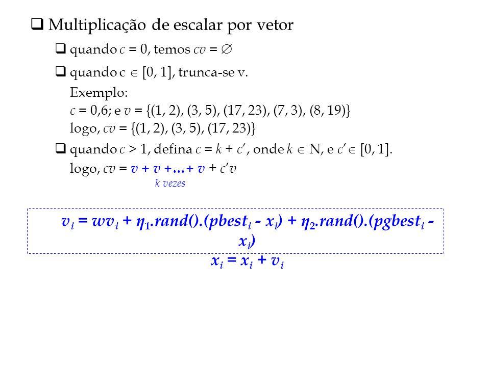 Multiplicação de escalar por vetor quando c = 0, temos cv = quando c [0, 1], trunca-se v.