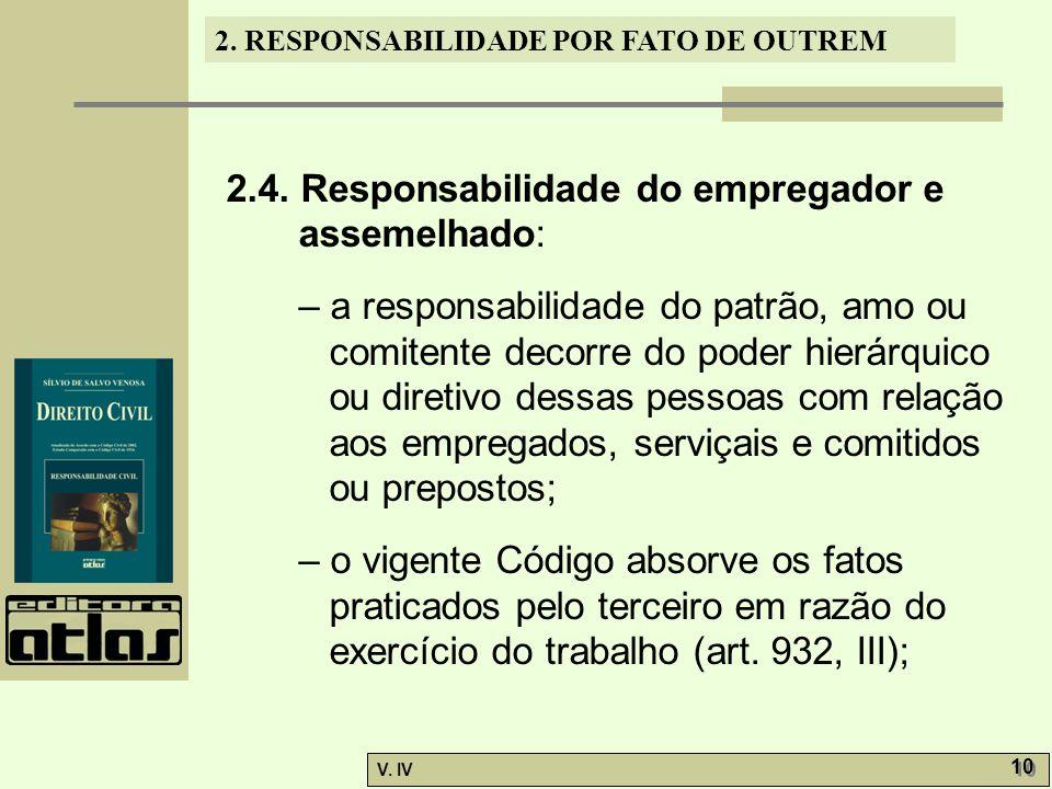 2. RESPONSABILIDADE POR FATO DE OUTREM V. IV 10 2.4. Responsabilidade do empregador e assemelhado: – a responsabilidade do patrão, amo ou comitente de