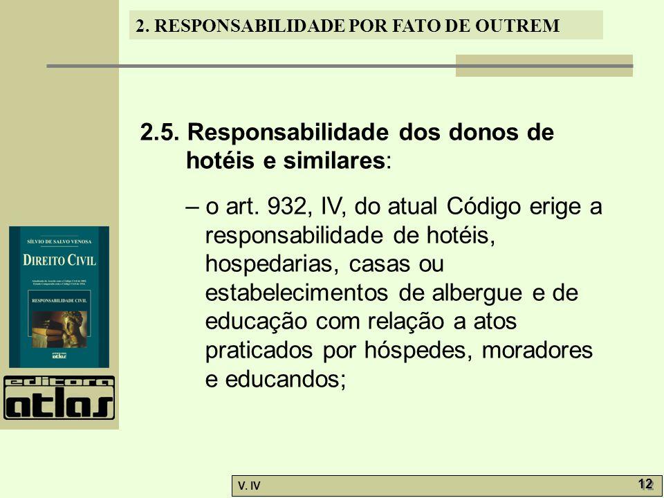 2. RESPONSABILIDADE POR FATO DE OUTREM V. IV 12 2.5. Responsabilidade dos donos de hotéis e similares: – o art. 932, IV, do atual Código erige a respo