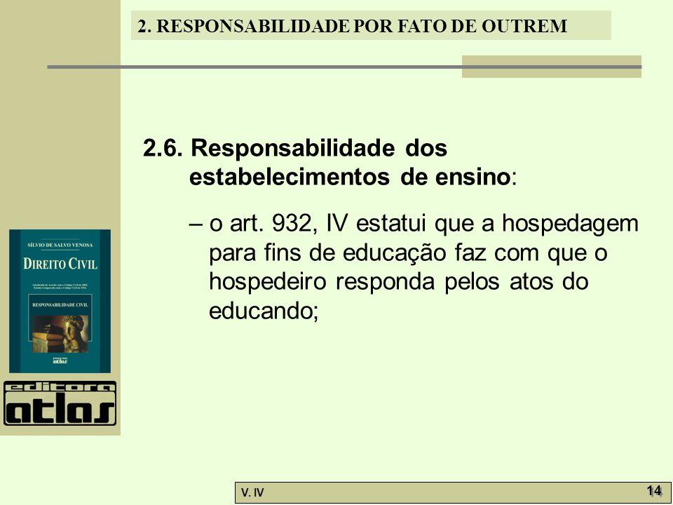 2. RESPONSABILIDADE POR FATO DE OUTREM V. IV 14 2.6. Responsabilidade dos estabelecimentos de ensino: – o art. 932, IV estatui que a hospedagem para f