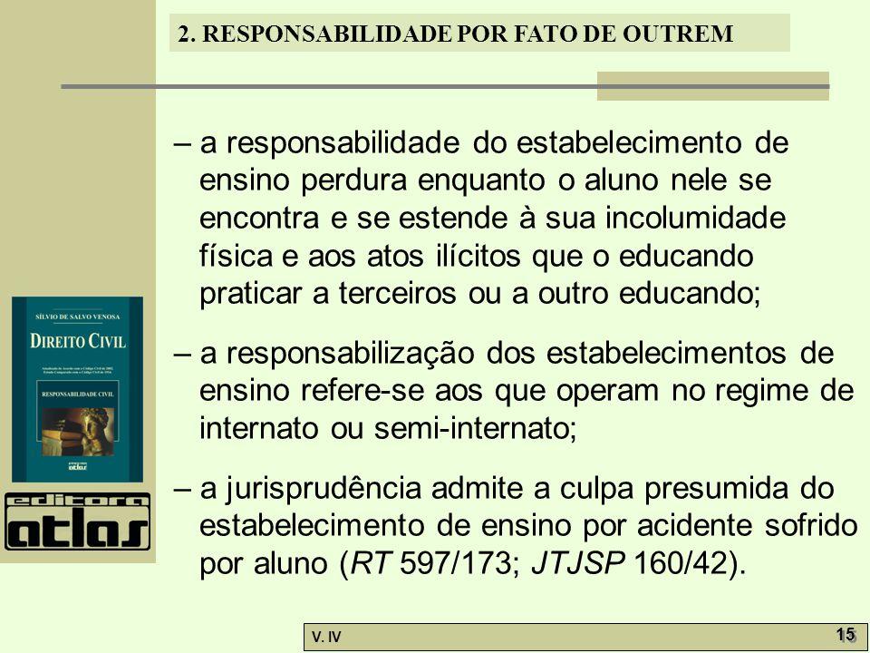 2. RESPONSABILIDADE POR FATO DE OUTREM V. IV 15 – a responsabilidade do estabelecimento de ensino perdura enquanto o aluno nele se encontra e se esten