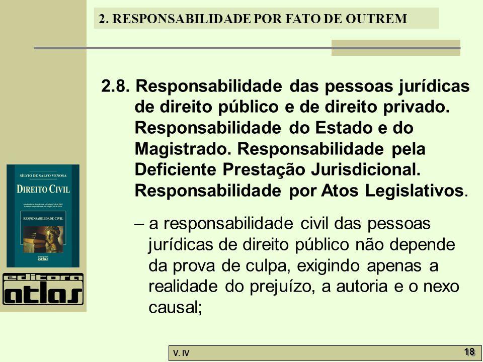 2. RESPONSABILIDADE POR FATO DE OUTREM V. IV 18 2.8. Responsabilidade das pessoas jurídicas de direito público e de direito privado. Responsabilidade