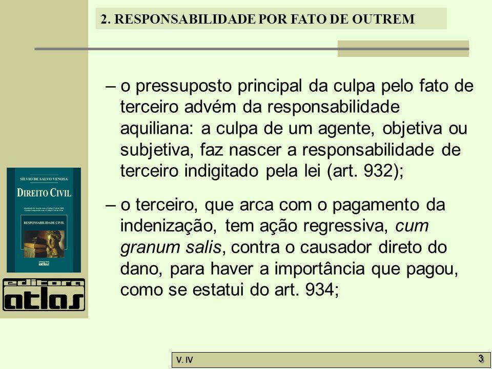2. RESPONSABILIDADE POR FATO DE OUTREM V. IV 3 3 – o pressuposto principal da culpa pelo fato de terceiro advém da responsabilidade aquiliana: a culpa