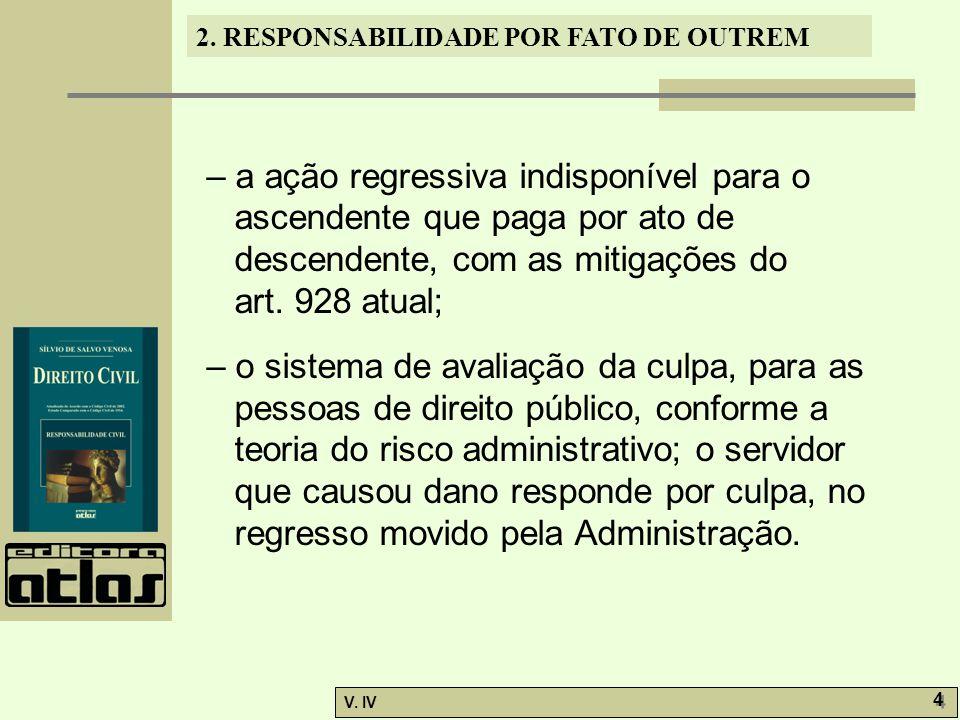 2. RESPONSABILIDADE POR FATO DE OUTREM V. IV 4 4 – a ação regressiva indisponível para o ascendente que paga por ato de descendente, com as mitigações