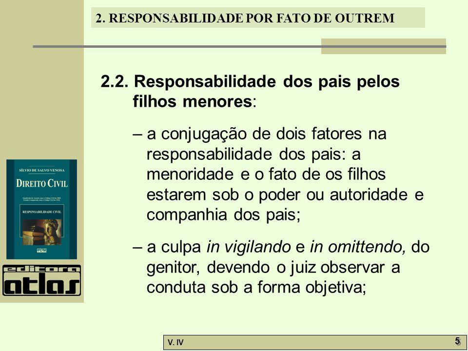 2. RESPONSABILIDADE POR FATO DE OUTREM V. IV 5 5 2.2. Responsabilidade dos pais pelos filhos menores: – a conjugação de dois fatores na responsabilida