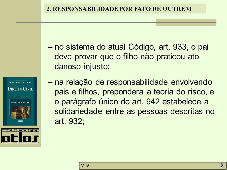 2. RESPONSABILIDADE POR FATO DE OUTREM V. IV 6 6 – no sistema do atual Código, art. 933, o pai deve provar que o filho não praticou ato danoso injusto