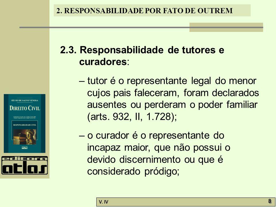 2. RESPONSABILIDADE POR FATO DE OUTREM V. IV 8 8 2.3. Responsabilidade de tutores e curadores: – tutor é o representante legal do menor cujos pais fal